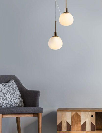 Lampa wisząca Erich - Maytoni - złota, biała