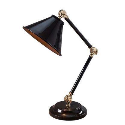 czarna lampa biurkowa elegancka, klasyczna