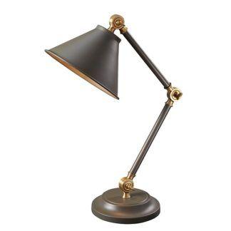 Klasyczna lampa stołowa Prestige - szara, mosiądz
