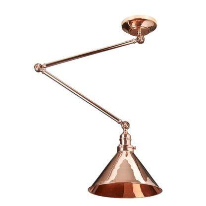 miedziana lampa wisząca z regulacją