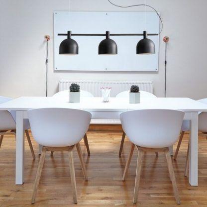 lampa wisząca nad stół - czarna 3 klosze
