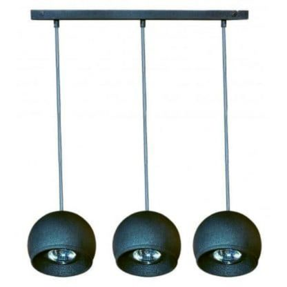 nowoczesna lampa wisząca z trzema kloszami kulami
