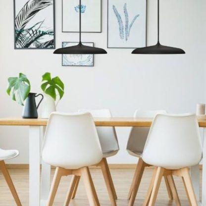 lampy wiszące nad stół - czarne płaskie - do kuchni