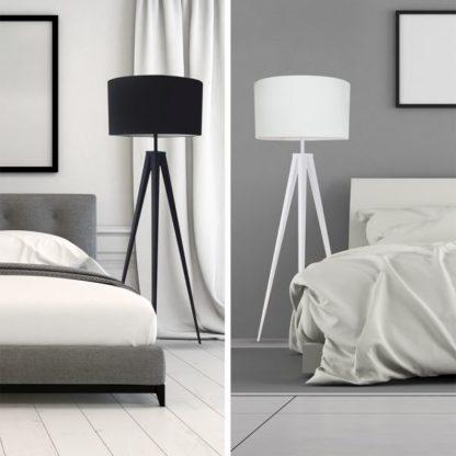 lampa podłogowa tripod - szara sypialnia aranżacja