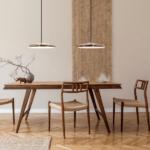 miedziana lampa wisząca talerz artist nad stół - do salonu