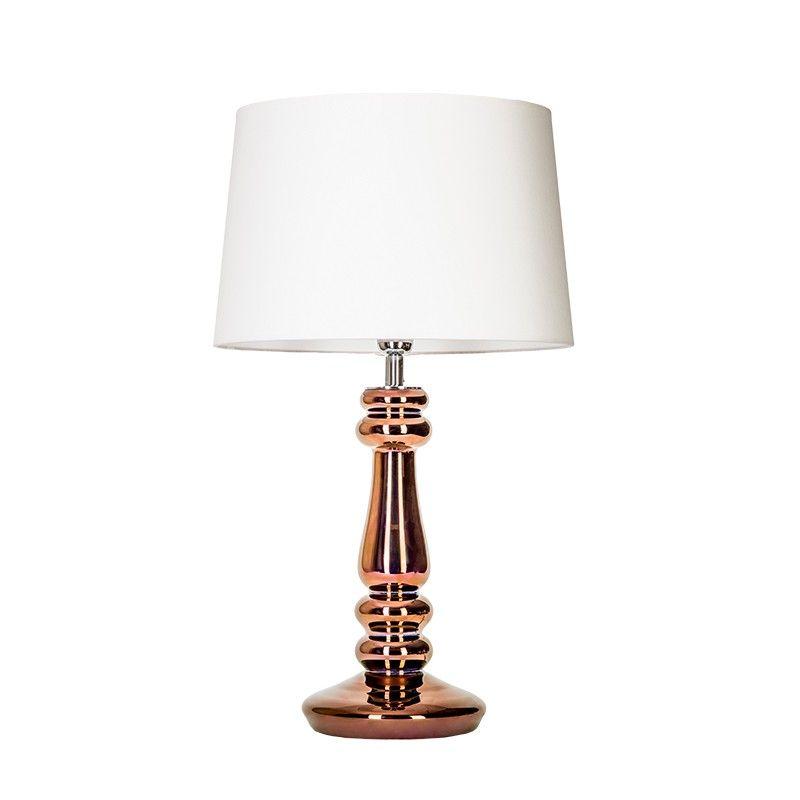 złota lampa stołowa z białym abażurem