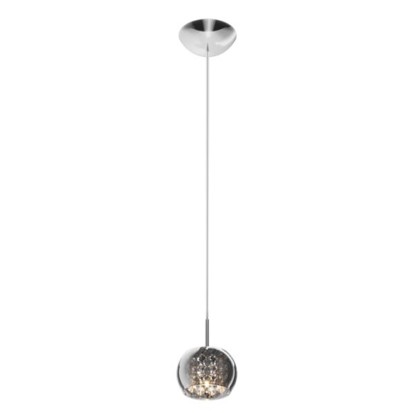 lampa wisząca z szarym, szklanym kloszem, wewnątrz kryształy, styl glamour