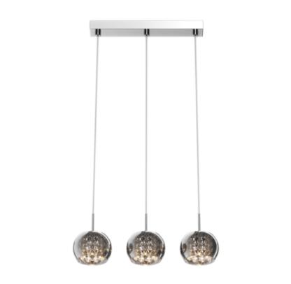 lampa wisząca z trzema szklanymi kloszami, glamour