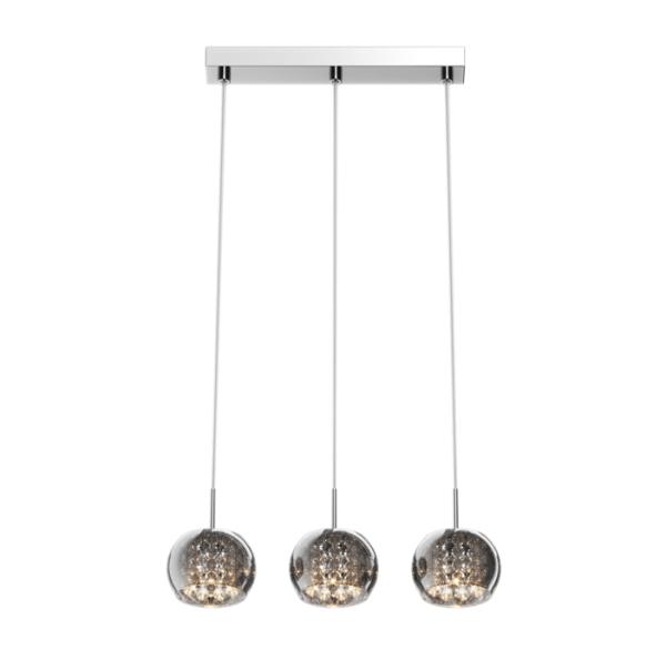 lampa wisząca na szynie, trzy szklane klosze, barwione szkło i kryształy w środku - aranżacja