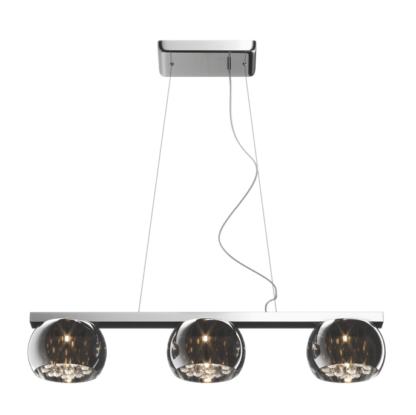 pozioma lampa wisząca z trzema kloszami ze szkła