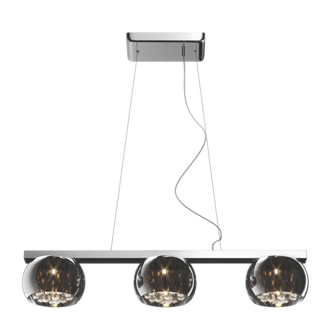 lampa wisząca na szynie, trzy klosze szklane z kryształami w środku