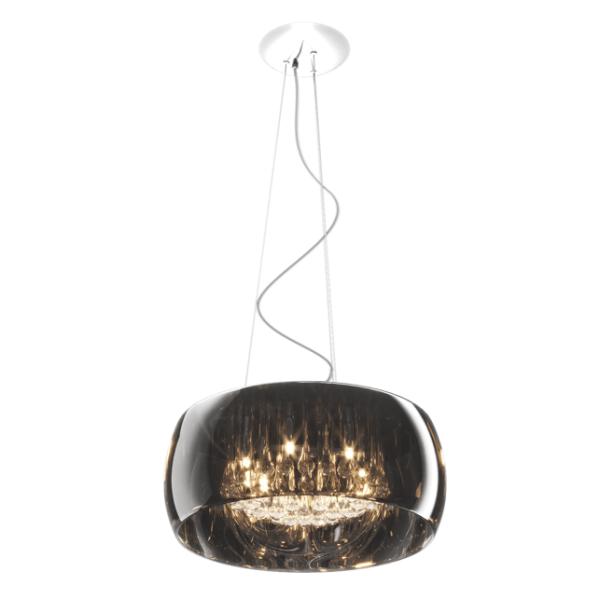 duża lampa wisząca z kryształkami w kloszu