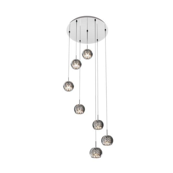 lampa wisząca z malutkimi kloszami z kryształkami - aranżacja