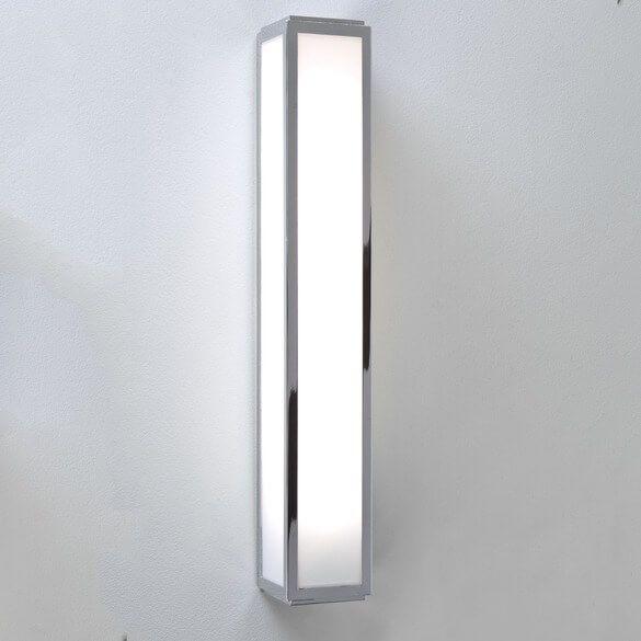 poziomy kinkiet nad lustro, szklany