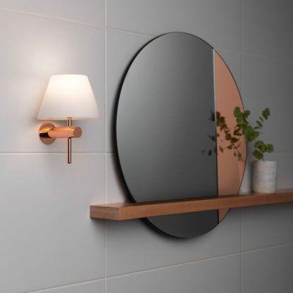 stylowy kinkiet miedziany do łazienki, na korytarz