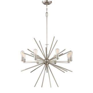 Nowoczesny żyrandol - Sputnik - wiszący, srebrny, 8 żarówek