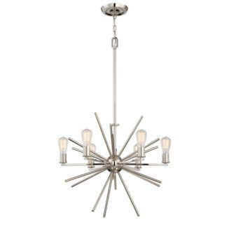 Nowoczesny żyrandol - Sputnik - wiszący, srebrny, 6 żarówek