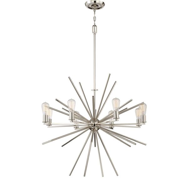 srebrny, industrialny żyrandol sputnik