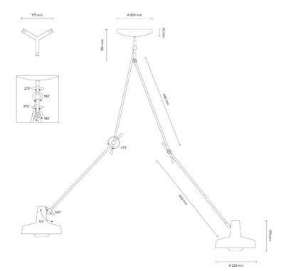 Lampa wisząca z dwoma źródłami światła Arigato II - Grupa Products - długie ramiona