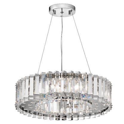 kryształowa lampa wisząca z dużym kloszem