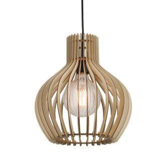 Lampa wisząca drewniana Groa 30 - Nordlux - ażurowa, jasnobrązowa