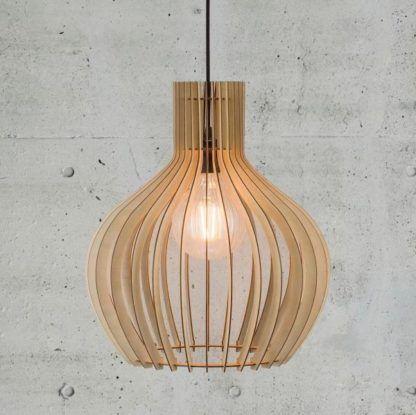 brązowa, drewniana lampa wisząca, nowoczesna
