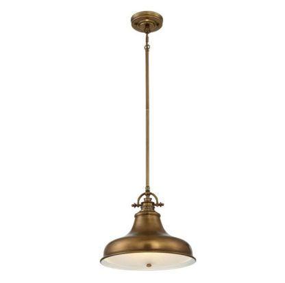 brązowa lampa wisząca z metalu industrialna