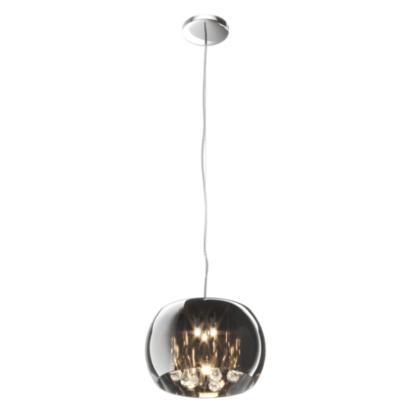 srebrna, szklana lampa wisząca glamour
