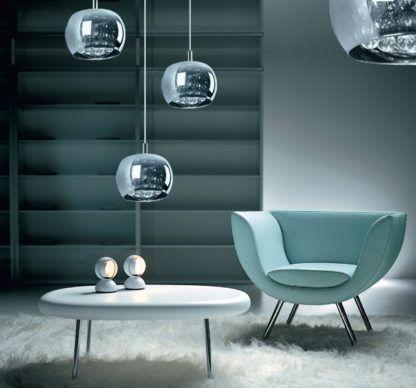 lampa wisząca glamour - aranżacja salon