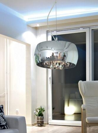 lampa wisząca w stylu glamour, srebrna