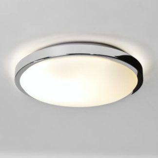 Okrągły plafon Denia - Astro Lighting - chrom, mleczne szkło, IP44