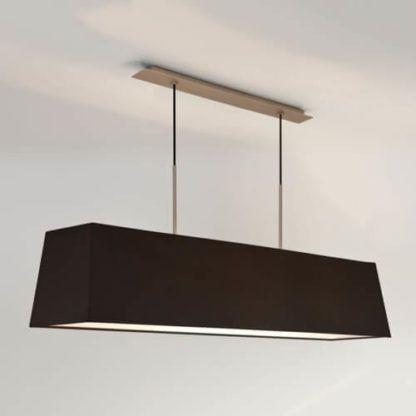 podłużna lampa wisząca, srebrna z ciemnym abażurem, lampa nad stół do jadalni