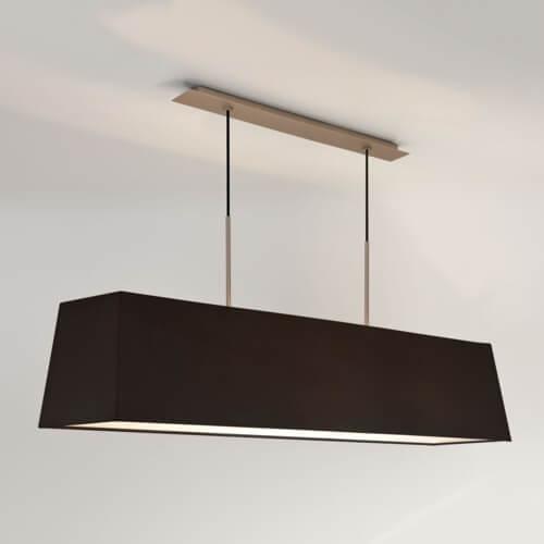 srebrna lampa wisząca z białym, podłużnym abażurem, lampa do jadalni, lampa do salonu, elegancka i nowoczesna
