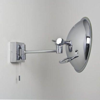 srebrne lustro do łazienki podświetlane panelem LED, nowoczesne oświetlenie do wykonywania makijażu w domu