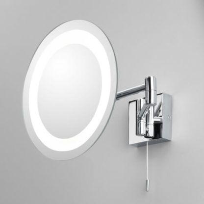 lustro łazienkowe do makijażu podświetlane panelem LED, polerowany chrom, wydłużane ramię