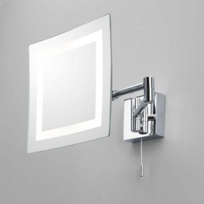 kwadratowe lustro do makijażu na wysięgniku, lustro podświetlane panelem LED