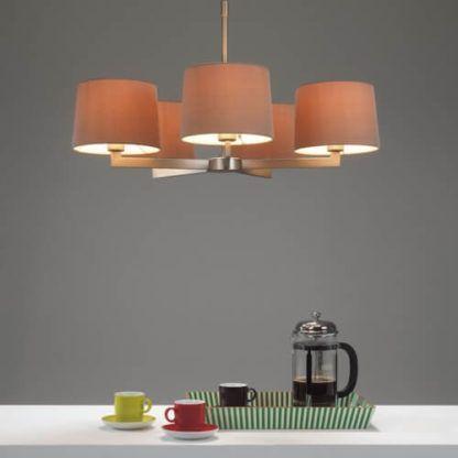 elegancki, nowoczesny, minimalistyczny żyrandol z abażurami - oświetlenie do salonu, do jadalni
