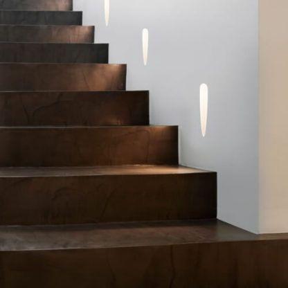nowoczesny kinkiet wpuszczany w tynk, kinkiety na schody, na korytarz, oświetlenie nocne