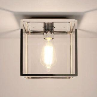 Szklana lampa sufitowa Box - Astro Lighting - srebrna rama