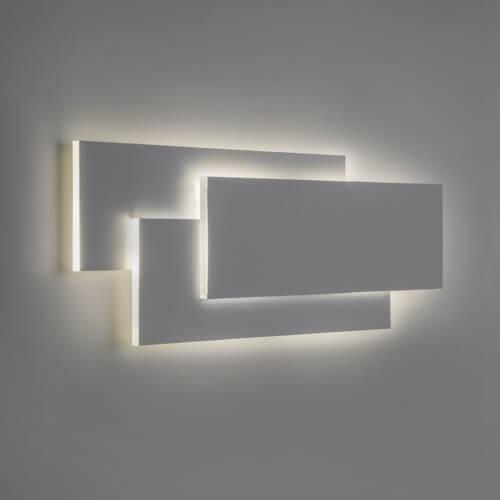 dekoracyjny kinkiet z modułem LED, pionowe prostokąty z gipsu, dekoracja światłem