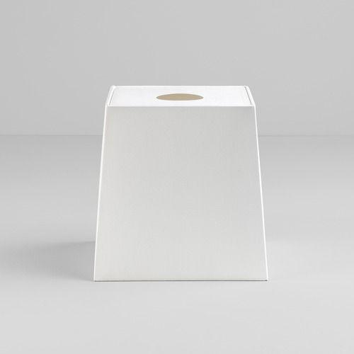 biały, kwadratowy abażur
