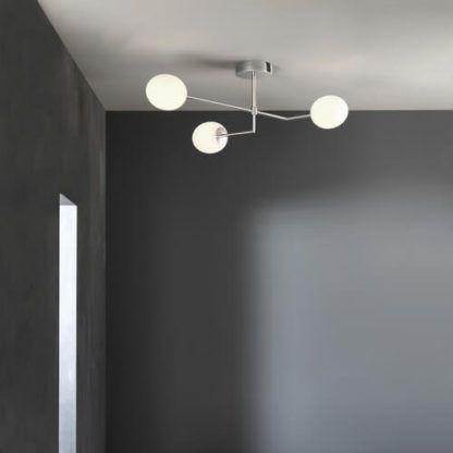 lampa sufitowa, nowoczesny żyrandol, trzy szklane klosze