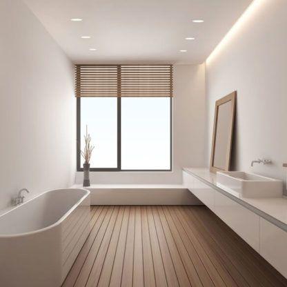 białe oczka wpuszczane w sufit - aranżacja jasna łazienka