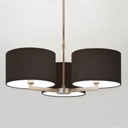 nowoczesny, elegancki żyrandol na 3 żarówki, ciemne, czarne abażury, stylowy żyrandol do sypialni, do salonu