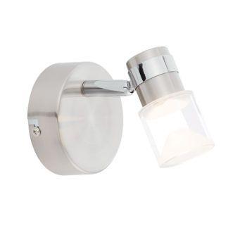Srebrny kinkiet Saturn - Endon Lighting - przezroczysty klosz