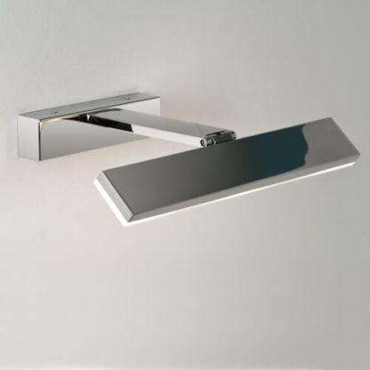 nowoczesny, srebrny kinkiet z regulowanym kloszem, światło do zdjęć do obrazów, światło nad lustro, polerowany chrom