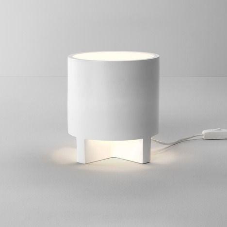 nowoczesna lampa stołowa z gipsu, do pomalowania