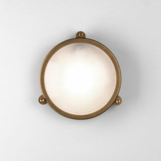 Okrągły kinkiet Malibu - Astro Lighting - mosiądz, szklany