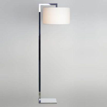 elegancka lampa podłogowa, podstawa srebrna w lustrzanym wykończeniu, jasny, duży, okrągły abażur