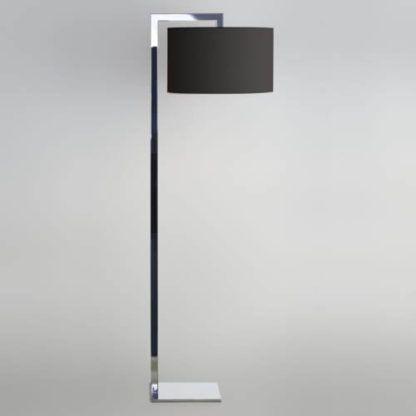 elegancka, nowoczesna lampa podłogowa srebrna, polerowany chrom z czarnym, dużym, okrągłym abażurem